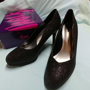 Fiona black glitter heels